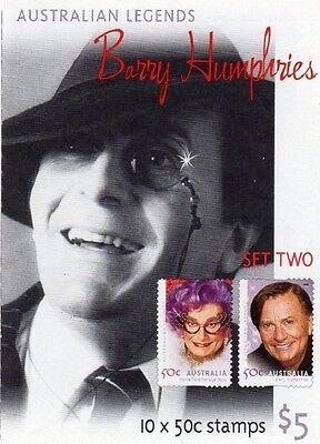 2006 AUSTRALIAN LEGENDS STAMP BOOKLET BARRY HUMPHRIES SET TWO10 x 50c STAMPS MUH