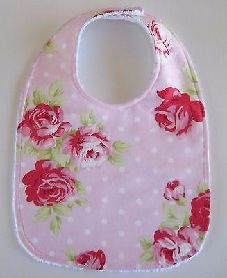 Hopscotch Handmade Baby Bib - Roses And Dots On Pink