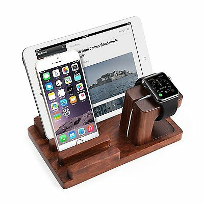 Rosewood Charge Dock Holder Docking Station for iPhone 7 Apple Watch Series 2 Re