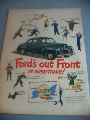 1946 Ford V-8 Coupe ORIGINAL AD - Great Garage Decor GE on Flip Side