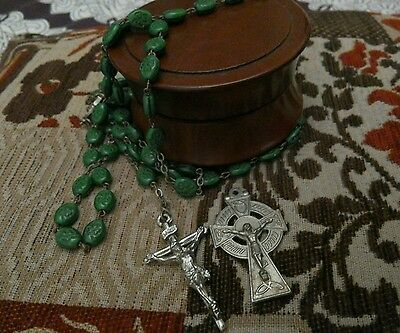 Lovely antique Irish rosary beads Celtic cross with lovely box