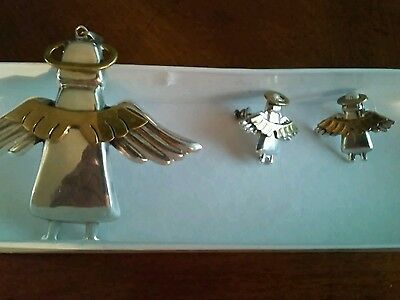 Sterling Silver Angel Pendant With Matching Pierced Earrings .925 Mexico