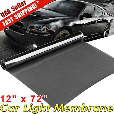 "25% Black 12"" x 72"" Car Smoke Headlight Fog Tail Light Tint Film Vinyl Sheet US"