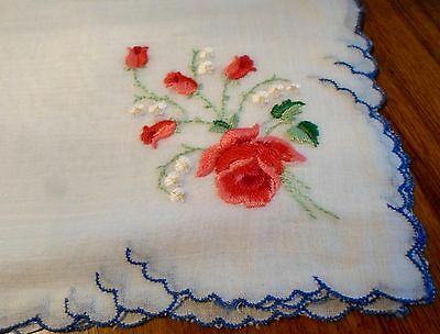 Beautiful, Vintage, Swiss Embroidered Fine Linen Handkerchief