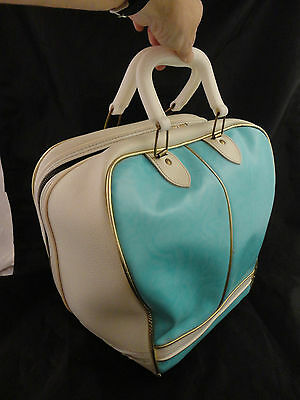 Vintage Turquoise/White with Gold Color Piping bowling bag
