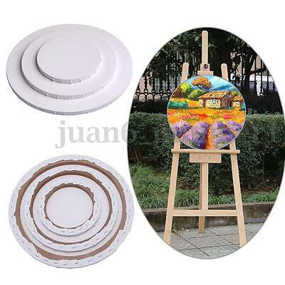 Round Canvas Panel Blank Cotton Board Wood Frame Acrylic Art Artist Oil Painting