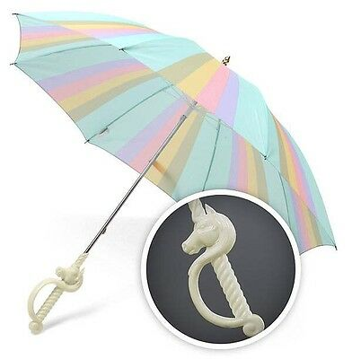 Magical Unicorn Horn Umbrella  - Fantasy Rainbow Pastel Striped Fabric - New