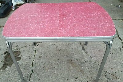 Vintage Red Formica Kitchen Table with Chrome Legs and Leaf Extension