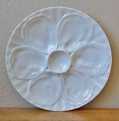 """9"""" Oyster Plate by PILLIVUYT France - Glossy White Porcelain - 6 Sectioned Wells"""
