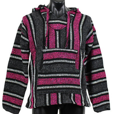 Mexican Baja Hoodie Pink & Grey Surfer Pullover Poncho Size X-Large Unisex
