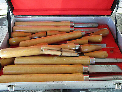 """Wood Turning Chisels Set of 21 - Tool Chest/Box 14"""" to 5-1/2"""" Length Vtg"""