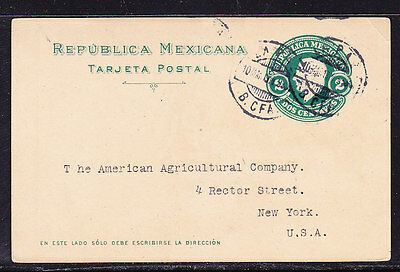 Mexico 1914 Embossed 2c Green Lettercard to New York