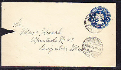 Mexico 1900 Embossed - 5c Blue Envelope  Local Address some damage