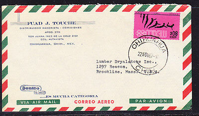 Mexico 1967 Air letter Chihuahua to Brookline, Mass USA