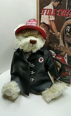 """TEXACO BEAR """" THE FIRE CHIEF """" 3rd in Series 16"""" tall Jointed Bear 1999 MIB"""