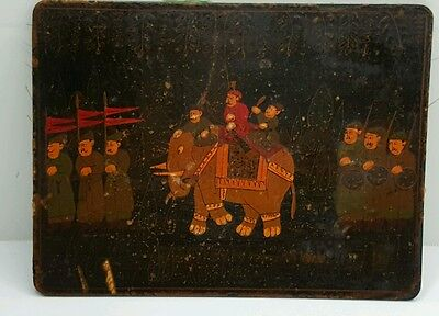 Antique Persian Lacquered Hand Painted Book Cover/Panel Board Rare Islamic Art