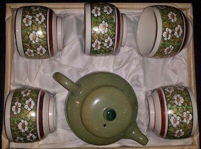 Japanese Tea Pot And 5 Cups Set From Japan In Original Box