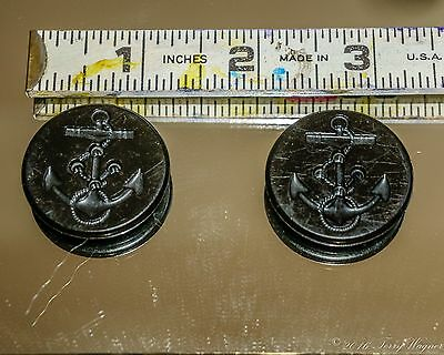 "(2) Vintage US Navy Anchor 1-1/4"" Bakelite Buttons"