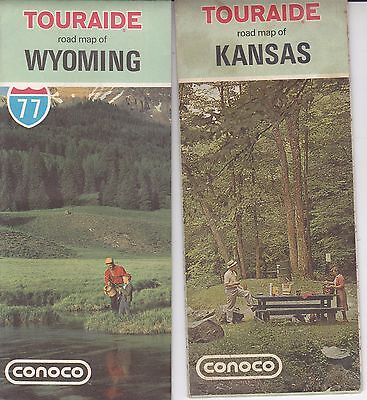 (2) Vintage 1970's Conoco Oil Map - Kansas, Wyoming