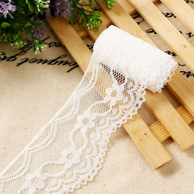 20m Wide 6CM Vintage off White Polyester Lace Trim Ribbon Sewing DIY Craft