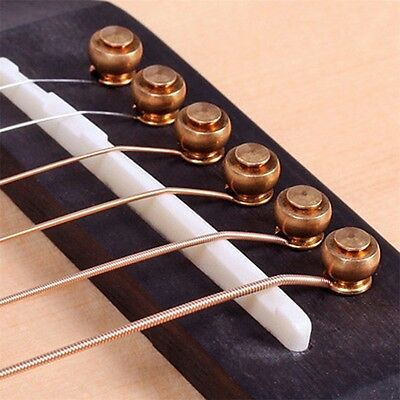 6 Pcs Solid Brass Bridge Pins For Acoustic Guitar Strings Accessories DIY AO
