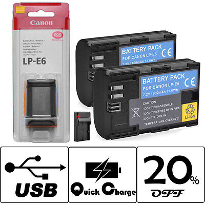 LP-E6 Battery & Charger for Canon EOS 5D 6D 60D 7D 70D 80D Mark II III IV Camera