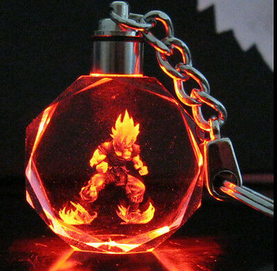Dragon Ball Dragonball Z Son Saiyajin Goku Crystal Key Chain LED light Pendant