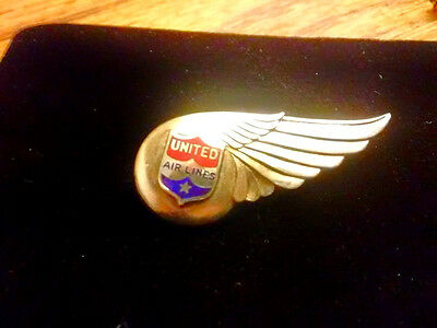Early UNITED AIRLINES 1940's Iissued Stewardess Wing-Sterling Silver