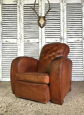 Superb Vintage Antique French Leather Button Back Club Chair