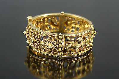 Woman 24k gilding silver Bracelet with lions and birds 7,28 inches 97 grams