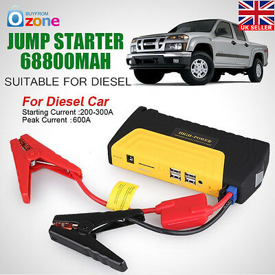 Emergency Charger Heavy Duty 68800mAh 4 USB Power Bank Car Jump Starter Portable