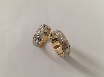 new arrrival!14K SOLID TWO TONE GOLD HIS &  HER WEDDING BAND RING SET SZ 5-13