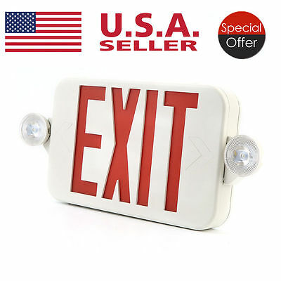 Red LED Emergency Exit Light Sign - Modern Battery Backup UL924 Fire MG