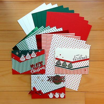 """""""pretty In Print"""" Christmas Dots Stripes Card & Paper Pack 20 Shts A5 - New"""