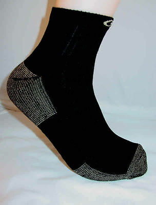 3 pairs Unisex Copper Sole Everyday Athletic Black Ankel socks Men 4-8 women 5-9