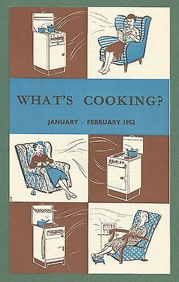 """The Gas Council Recipe Leaflet """"what's Cooking?"""" Jan / Feb 1953"""