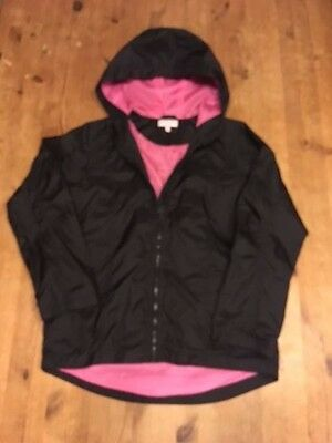 M & S Girls RAIN JACKET with Hood BLACK PINK Marks & Spencers  Age 11-12