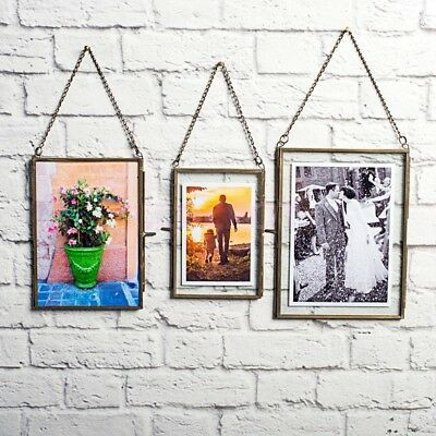 Vintage Industrial Style Hanging Double Sided Metal & Glass Photo Picture Frame