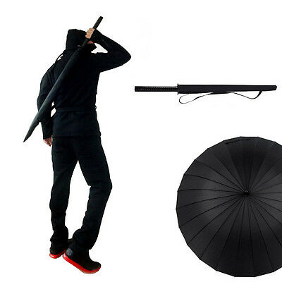 Japanese Samurai Straight Handle Umbrella Men Windproof Black Umbrella Long Pole