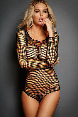 Black Fishnet Long Sleeve Teddy Pole Dancer Stripper Lingerie Size UK 10-12