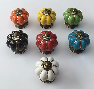 Pumpkin Ceramic Knobs Kitchen Cabinet Retro Vintage Door Drawer Handles Pulls