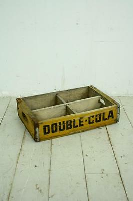 VINTAGE WOODEN DOUBLE COLA SODA CRATE 70s RETRO TRUG BOX WITH DIVIDERS • £35.00