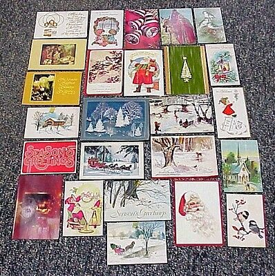 Vintage 1970's Used Christmas Cards Lot of 25