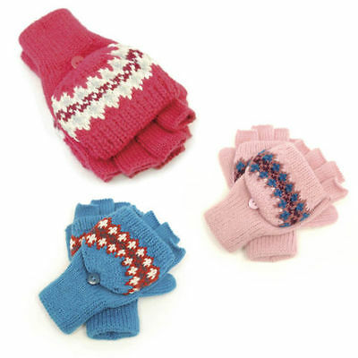 Kids Gloves Mittens Fingerless with Cap 100% Acrylic Various Designs & Colours