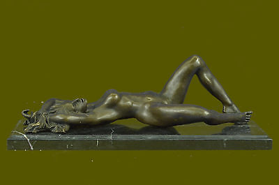 French Art Deco bronze sculpture nude fully Exposed  by Mavchi Lost Wax Decor