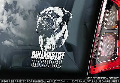 Bullmastiff - Car Window Sticker - English Bull Mastiff Dog on Board Sign - TYP1