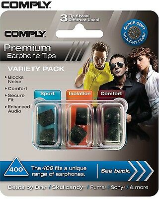 Comply Foam Variety Pack 400 3 Pairs In-Ear Earphone Tips Medium Black TS