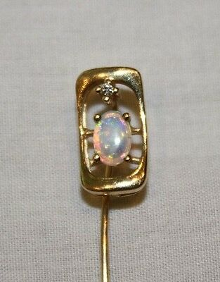 Gorgeous Antique 14K Gold with Diamond and Opal Stick Pin