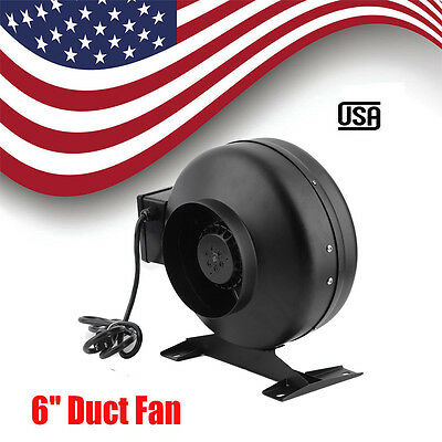 6 inch Inline Duct FAN blower HIGH CFM cool vent exhaust with Bracket US MG