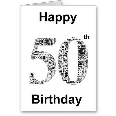 Personalised Printed Typographic Fifty/ 50th Birthday Card/ Gift Male/Female
